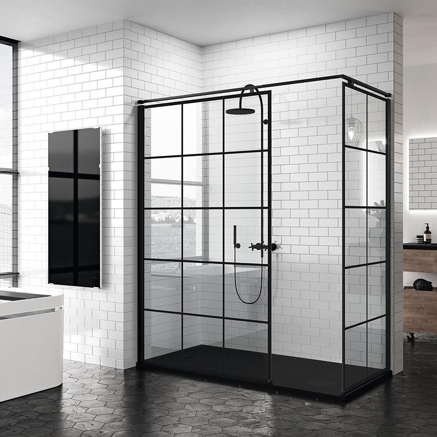 reformas tres cantos, baños, reforma de baño, novellini, mamparas en negro, mamparas en blanco, blanco y negro, mamparas ducha, tres cantos (1)