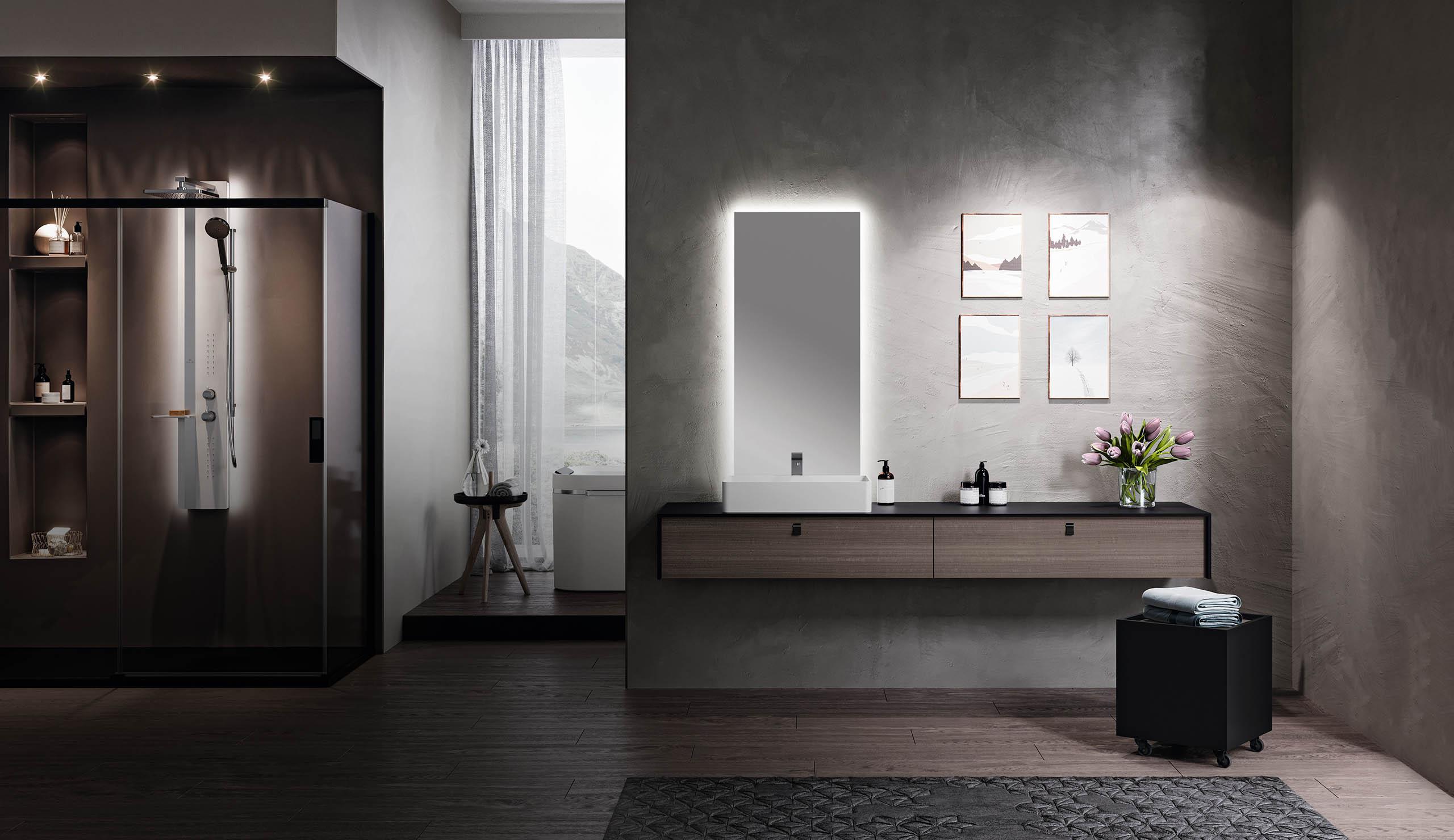 reformas tres cantos, baños, reforma de baño, novellini, mamparas en negro, mamparas en blanco, blanco y negro, mamparas ducha, tres cantos (2)
