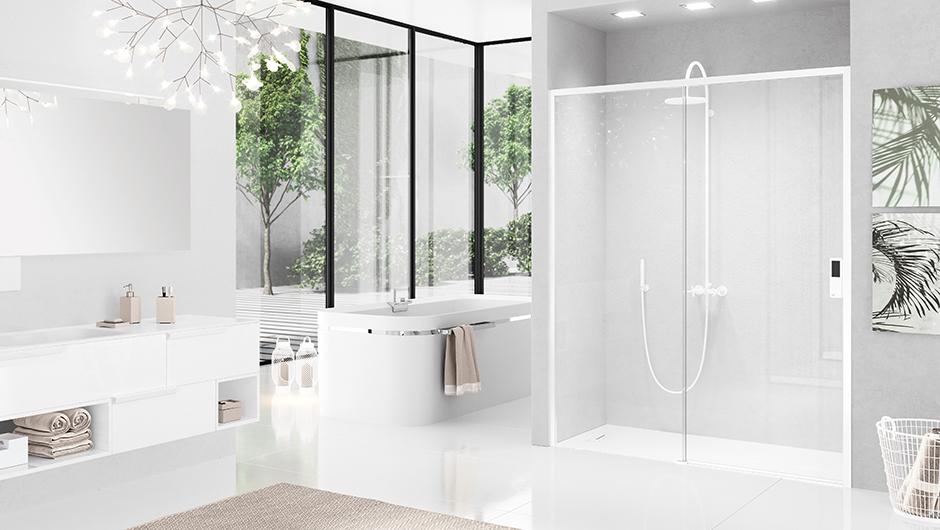 reformas tres cantos, baños, reforma de baño, novellini, mamparas en negro, mamparas en blanco, blanco y negro, mamparas ducha, tres cantos (4)