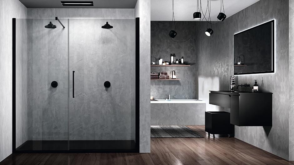 reformas tres cantos, baños, reforma de baño, novellini, mamparas en negro, mamparas en blanco, blanco y negro, mamparas ducha, tres cantos (5)