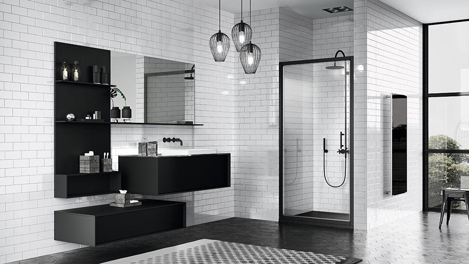 reformas tres cantos, baños, reforma de baño, novellini, mamparas en negro, mamparas en blanco, blanco y negro, mamparas ducha, tres cantos (6)