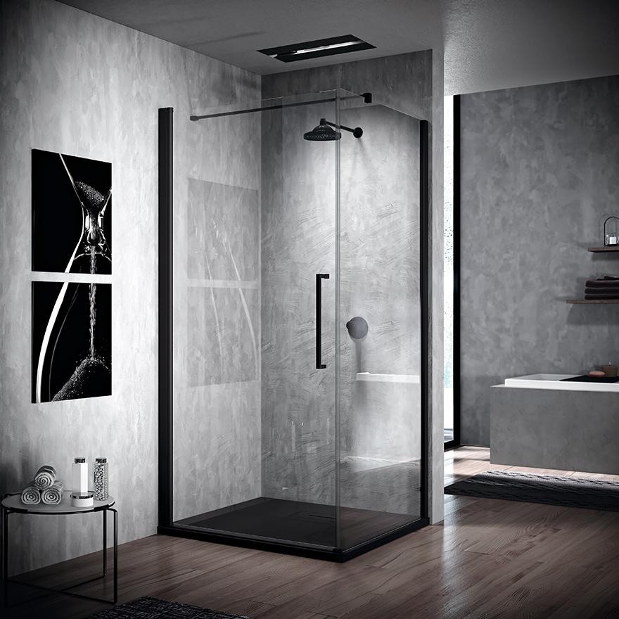 reformas tres cantos, baños, reforma de baño, novellini, mamparas en negro, mamparas en blanco, blanco y negro, mamparas ducha, tres cantos (8)