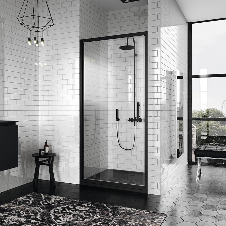 reformas tres cantos, baños, reforma de baño, novellini, mamparas en negro, mamparas en blanco, blanco y negro, mamparas ducha, tres cantos (9)
