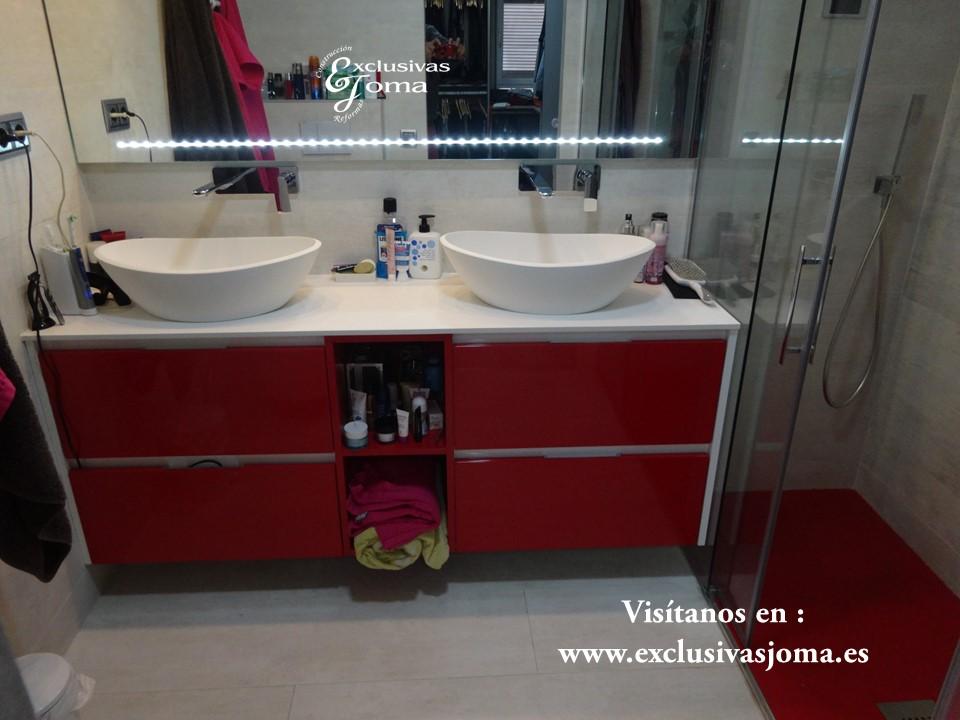 Muebles de baño a medida, lavabos sobre encimera acabado Durian, espejos extragrandes con luz led y cromoterapia, reformamos tu baño